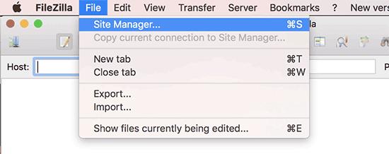 FileZilla FTP istemcisinde site yöneticisi