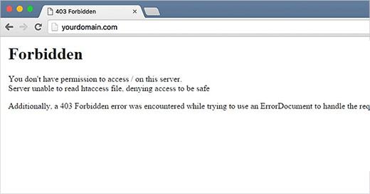403 WordPress sitesinde gösterilen Yasak durum kodu