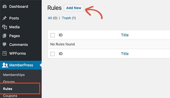 MemberPress'te yeni kurallar ekleyin