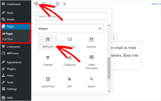 WordPress gönderisine veya sayfasına WPForms bloğu ekleyin