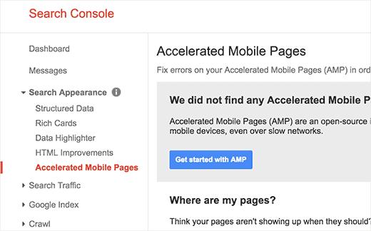 Google Arama Konsolunda hızlandırılmış mobil sayfalar