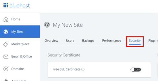 Bluehost ücretsiz SSL