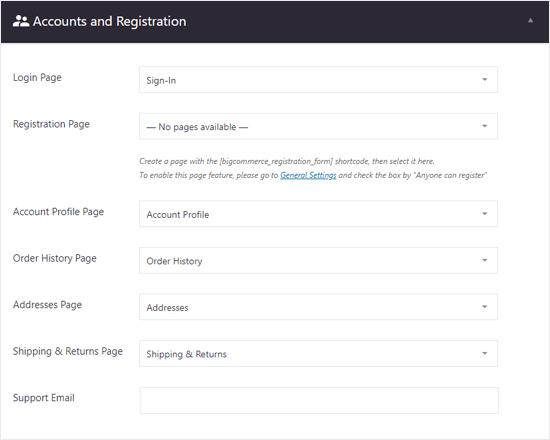 WordPress Hesap ve Kayıt Ayarları için BigCommerce