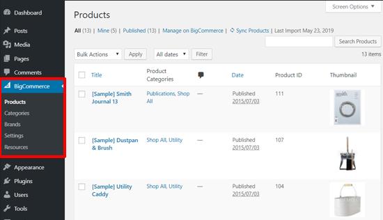 WordPress panosundaki BigCommerce Örnek Ürünler