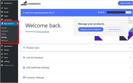 WordPress Ayarları için BIgCommerce