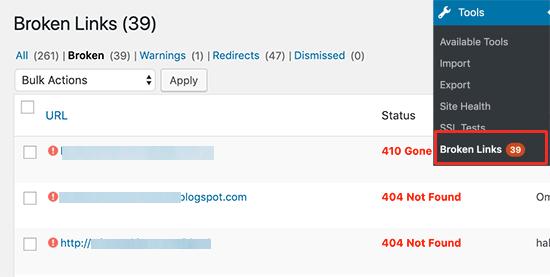 WordPress'te Kırık Bağlantılar Raporu