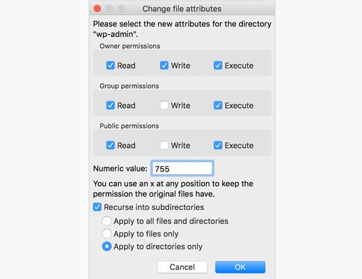 FTP kullanarak dosya izinlerini değiştirme