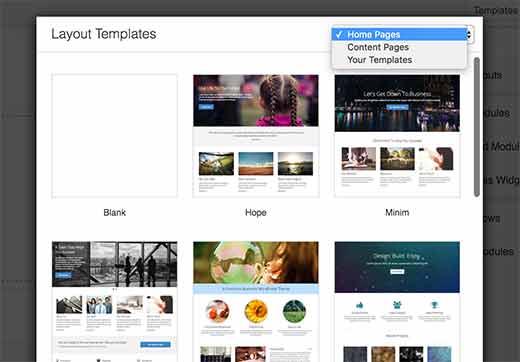 Sayfa düzeniniz için bir şablon seçin