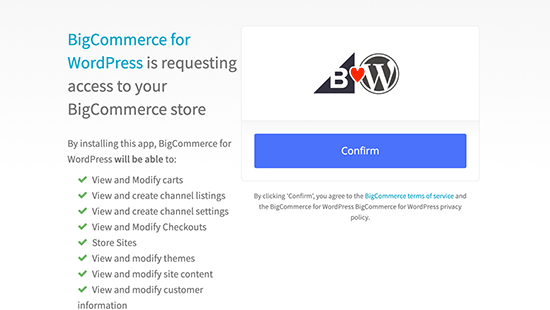BigCommerce bağlantısını onayla