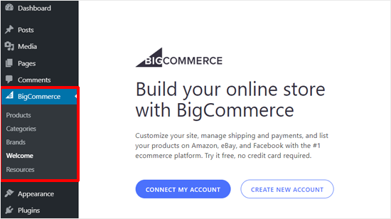 BigCommerce Hesabı ile Bağlan veya Yeni Hesap Oluştur