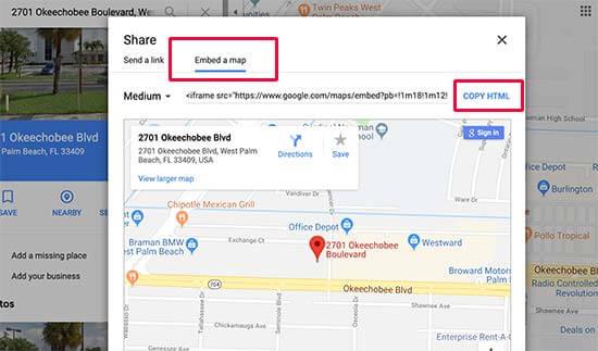 Google Haritalar gömme kodunu kopyala
