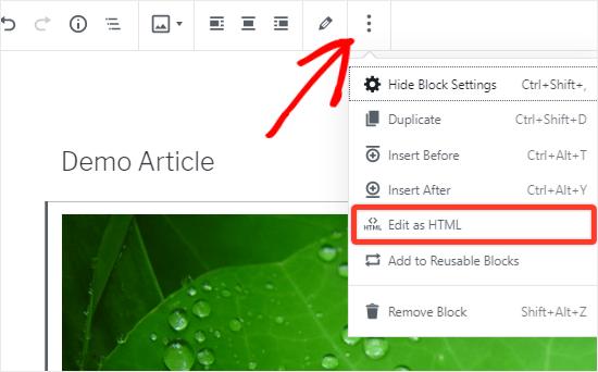 CSS sınıfı eklemek için Resmi HTML olarak düzenle seçeneği