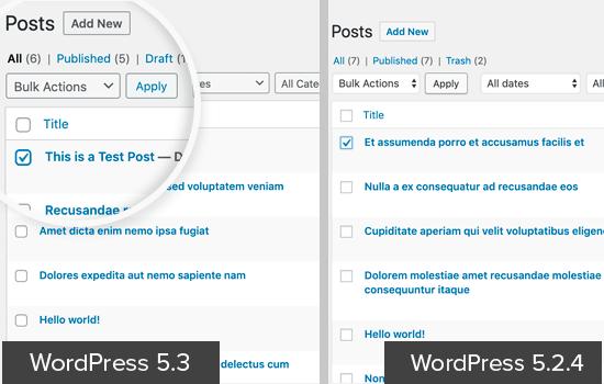 WordPress 5.3 UI'deki form alanları