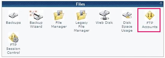 CPanel'in içindeki FTP hesaplarını yönetme