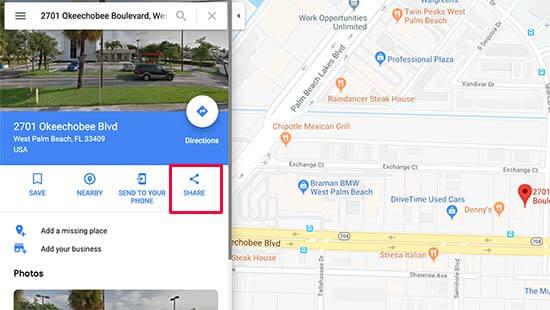 Bir haritayı Google Haritalar'da paylaşma