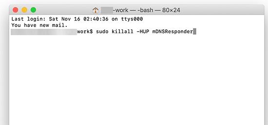 MacOS'taki terminali kullanarak DNS önbelleğini temizleme