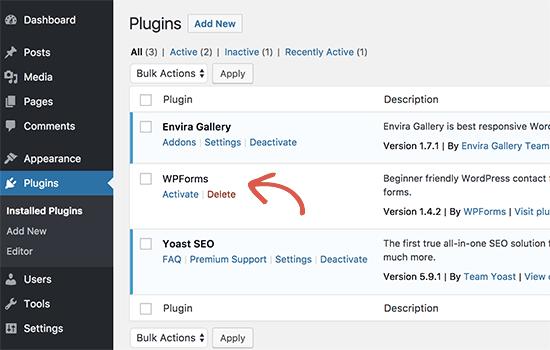 WordPress admin alanında yüklü eklenti