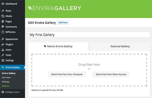 Yeni bir Envira Galerisi Oluşturmak