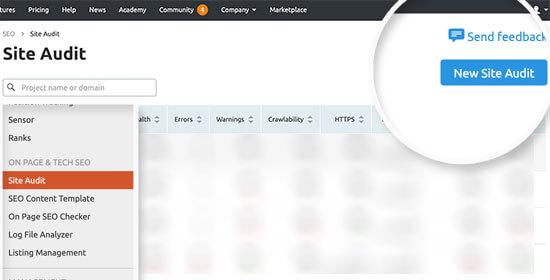 SEMRush'ta yeni bir site denetimi ekleme