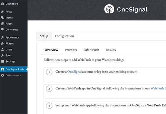 OneSignal ayarları sayfası