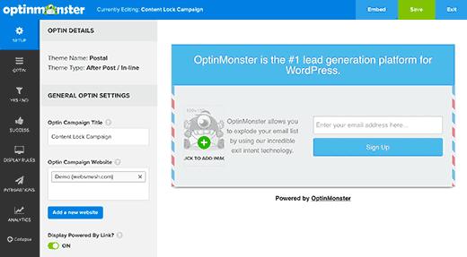 OptinMonster'ın optin oluşturucu