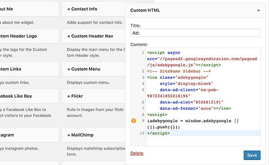 AdSense reklam kodunuzu WordPress'teki özel HTML widget'ına ekleyin