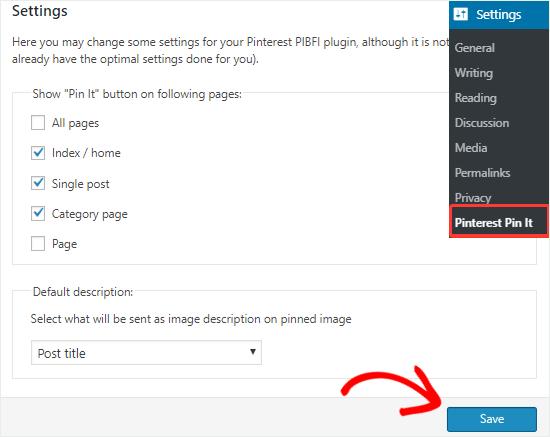 Görüntüler ayarları sayfası için Pinterest Pin It düğmesi