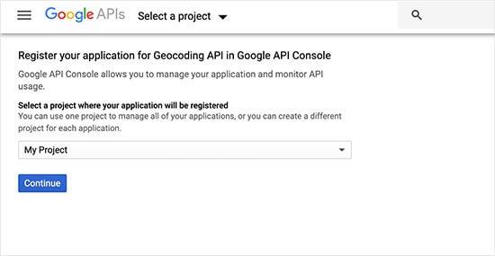 Google Haritalar projenizi seçin