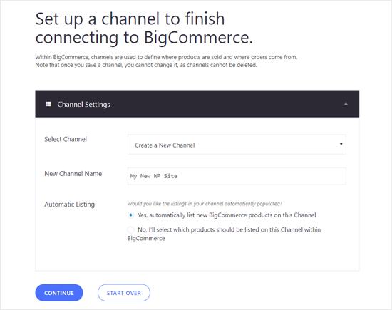 BIgCommerce'da WordPress Sitesi için Kanal Ayarlama