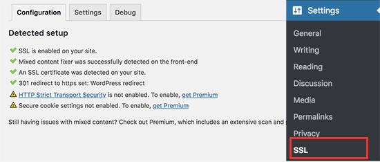 WordPress'te SSL etkin
