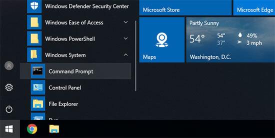 Windows'ta komut istemini açma