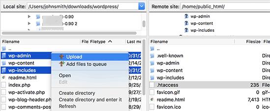 Yeni WordPress dosyalarını yükleyin