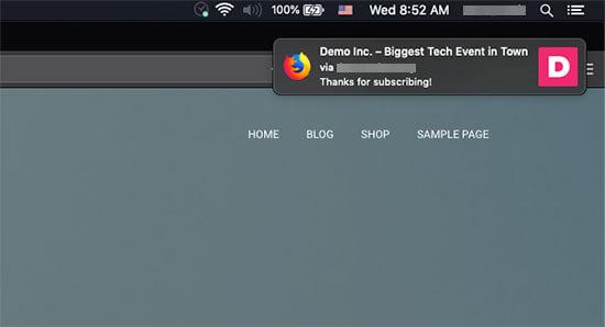Mac'te Firefox aracılığıyla görüntülenen hoş geldiniz bildirimi
