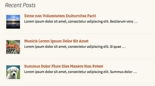 Son gönderiler listelenen bir WordPress sayfası