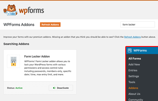 WPForms Form Locker Eklentisi