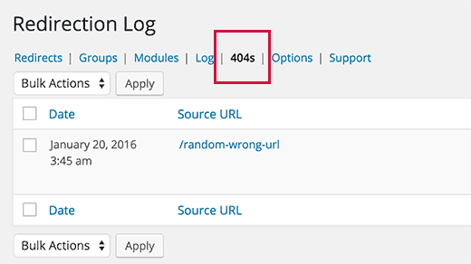 Yeniden Yönlendirme eklentisiyle WordPress'te 404 hatalarını izleme