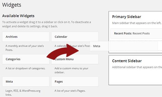 WordPress'te bir kenar çubuğuna meta widget ekleme