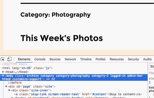 WordPress tarafından eklenen CSS sınıfları