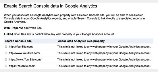 Google Arama Konsolu özelliğini seçin