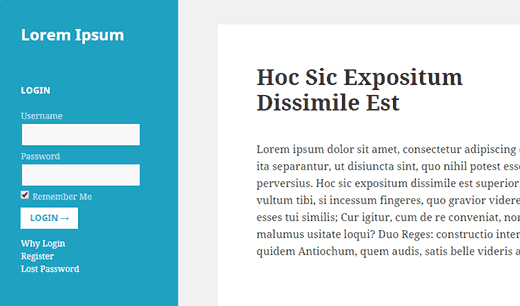 Kenar çubuğunda bir giriş formu bulunan bir WordPress sitesinin önizlemesi