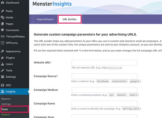 MonsterInsights'ta URL oluşturucu