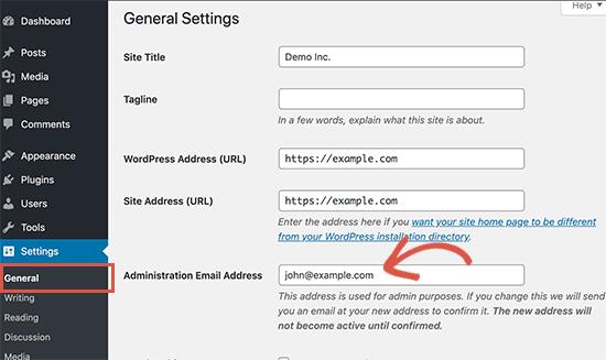 Yönetici e-posta adresini değiştirme