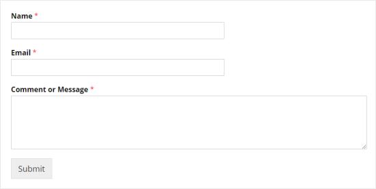 Ad, E-posta ve Yorum veya Mesaj alanlarını gösteren basit bir iletişim formu