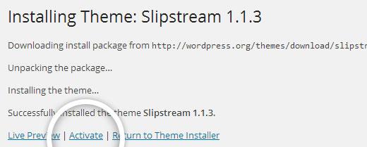 WordPress Temasını Etkinleştirme