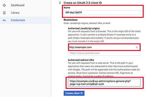 API kimlik bilgilerinin 2. adımı