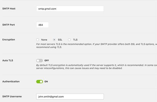 WP Mail SMTP için Gmail SMTP ayarları