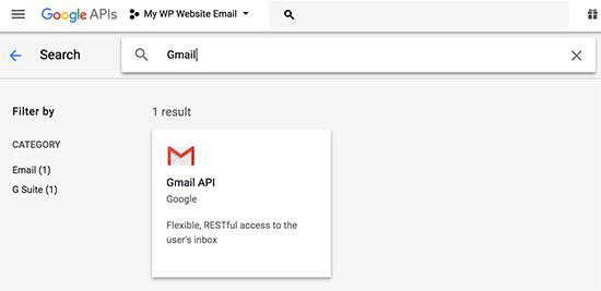 Gmail API'sını seçin