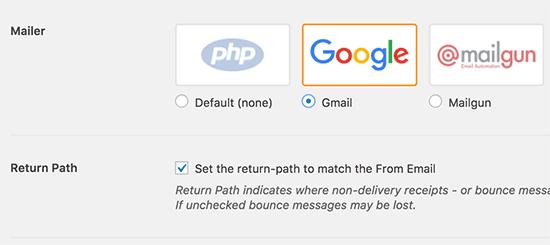 Gmail'i Posta Gönderici olarak seçin