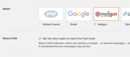 Postanız olarak Mailgun'u seçin