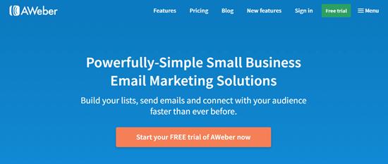 Otomatik yanıtlayıcı aracı AWeber'ın web sitesi